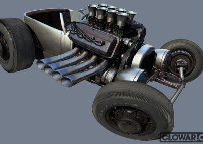 Roadster 3D cartoon rendering